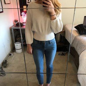 White Crop Top Sweater